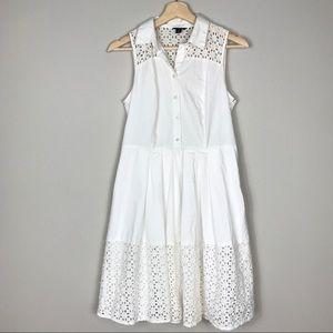 Ann Taylor White Collar Sleeveless Laser Cut Dress
